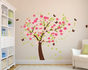 Flowers Tree with Butterflies Wall Decal, Nursery Removable Wall Decal Tree with Colorful Leaves, Children Bedroom Tree Wall Mural