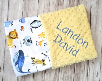 Monogrammed Baby Blanket - Minky Animal Alphabet Personalized, Yellow Blanket with name Newborn, Receiving Blanket, Hippo, Penguin, Lion