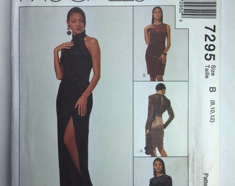 McCall's 7295, Misses' Pattern, Lined Front Slit, Evening Dress, Petite-able Pattern, Sizes 8,10,12 uncut dated 1990's