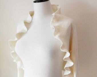 Bridal Jacket Bolero Shrug Ivory Wedding Jacket Wool and Silk Felted