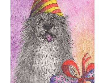 Old English Sheepdog 8x10 inch art print by Susan Alison bobtail OES Dulux dog happy birthday party hat bone present wrapped up with a bow