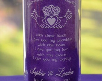 Personalized Claddagh Ring and Irish Celtic Blessing Engraved Glass Wedding Candle Holder/Vase - Two Sizes and Designs Available (#5)
