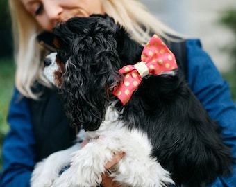 Valentine's Day Pink and Gold Polka Dot Bow Tie Dog Collar