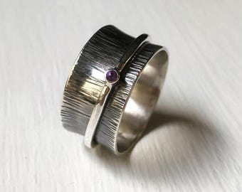 Amethyst Spinner Ring