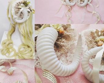 Lovely Ivory Lolita Clip-On Ram Horns (Medium Sized Horns)