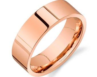 14k Rose Gold Band (7mm) / PLAIN / Polished Flat + Comfort Fit / Men's Women's Wedding Ring