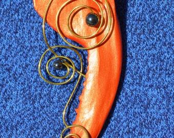 Orange Fox Jaw Bone Necklace