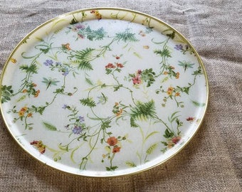 Beautiful Vintage Fibre Glass Floral Serving Tray