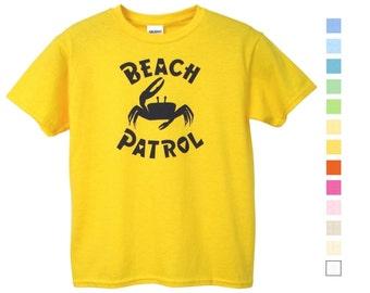 Kid's Beach Patrol Fiddler Crab 100% Cotton T Shirt Animal Graphic Tee for Children