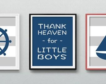 Nursery Wall Art, Nautical Nursery, Nautical Boy Nursery Set, Set of 3, Printable Art
