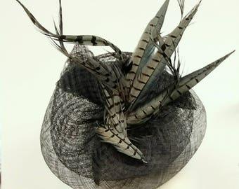 Elegant Pheasant Headpiece Fascinator Hat in Dark Navy