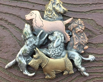 Vintage Jewelry Signed K&T Mixed Metals Dog Collage Pin Brooch