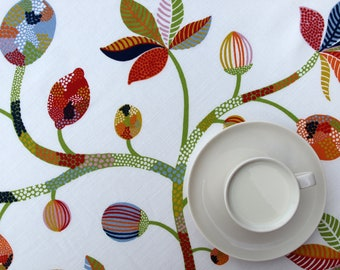 Tablecloth white orange green bright leaves Modern Scandinavian Design , napkins , table runner , pillows , valances available, great GIFT