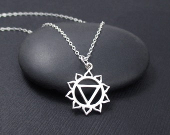 Solar Plexus Chakra Necklace, Sterling Silver Solar Plexus Chakra Charm Pendant, Chakra Jewelry, Yoga Jewelry, Yoga Gift