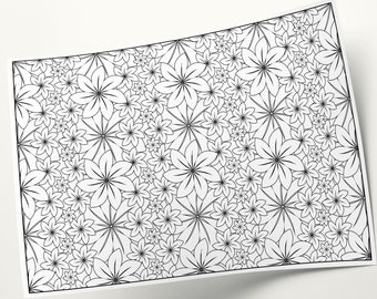 Coloring Pages Adult, Coloring Floral Art, Flower Illustration To Color, Coloring Book Sheets, Coloring Flower Page, Details Coloring