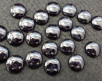 Vintage Black Onyx 20mm Round Cabochons
