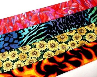 Gel Cooling Collar, Fabric Dog Neck Cooler Bandana Collar Buckle Adjustable Sz Small 10 - 14 inch Animal Print, Flames, Sunflowers iycbrand