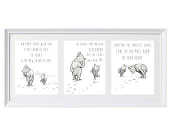 Classic Winnie the Pooh Set of Three Prints Wall Art Nursery Art Set #1