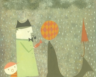 We found a fish for you, could we please have our umbrella back?  Limited edition print by Matte Stephens.