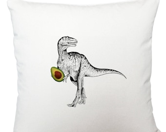 Cushions/ cushion cover/ scatter cushions/ throw cushions/ white cushion/ dinosaur with avocado cushion cover