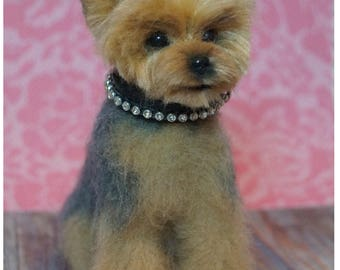 Miniature felt dog/Yorkie/Felted Yorkie/Needle felted animal/Miniature/Personalized Pet/ Tiny animal/Best selling item/Sweet gift