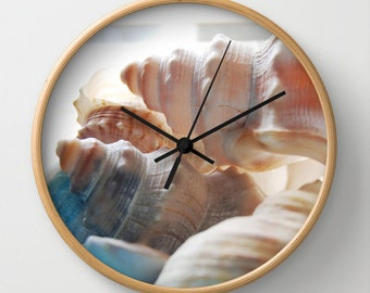 Sea shells photo wall clock, beach house home decor, seaside theme analogue time in black, white or neutral color
