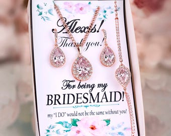 Blush earrings Blush Bridesmaid Earrings Blush bridal jewelry set Bridesmaid gift Blush pink earrings Crystal Earrings with Bridesmaid card