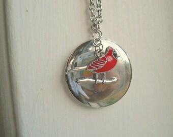 Cardinal Locket Silver Locket Red Bird Necklace Cardinal Necklace Bird Jewelry Bird Necklace Cardinal Jewelry