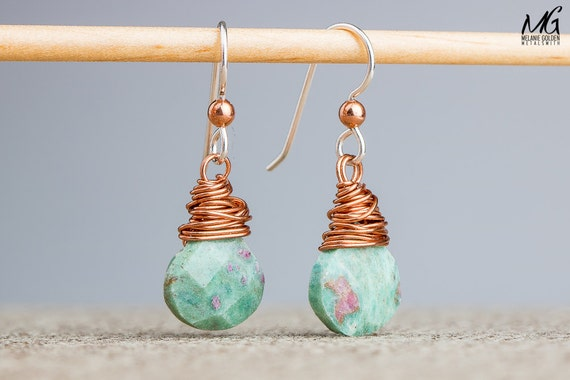 Wire Wrapped Earrings - Ruby in Fuchsite gemstone dangle drop earrings in Sterling Silver and Copper - Boho Bohemian jewelry - Green pink