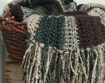 Afghan Earth Tones Throw Home Decor Green Brown Taupe Interior Design crocheted