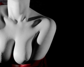 Artistic nude woman breast fine ART black and white and red photography print  - Carezza Rossa - 1