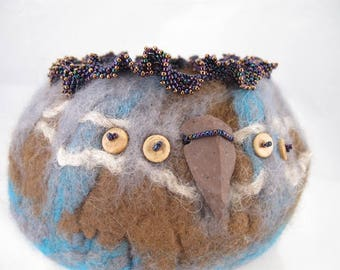 Felted vessel-stone arrowhead-natural beads-blue and brown merino wool felting-wet felted bowl-wet felted basket-wet felted vessel-wool