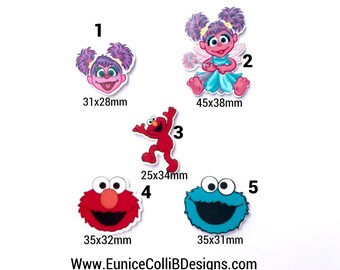 Mix,5, or 10 pcs Elmo, Abby and cookie monster inspired  planar resin