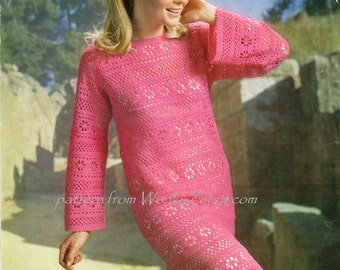 Vintage Crochet Dress Pattern PDF 145 Crochet Dress from WonkyZebra
