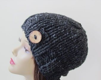 Chunky Beanie Hat - Charcoal with Coconut Shell Button Accent Women Teens Wool Blend Yarn - Ready to Ship - Gift for Her