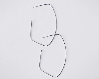 GEO - Sterling silver geometric big hoop earrings. geometric style.