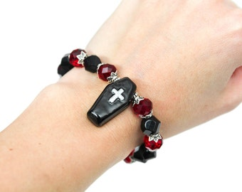 Hand-Painted Gothic Coffin Crystal Beaded Bracelet