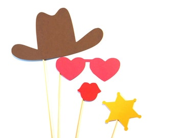 Photo Booth Props - Cowgirl Photo Prop Set - 4 piece set - Birthdays, Weddings, Parties - Photobooth Props