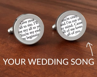 First Anniversary Gift for Him / One Year Anniversary / 1 Year Anniversary Gift for Him / Customized Wedding Song Cufflinks / #1 BEST-SELLER
