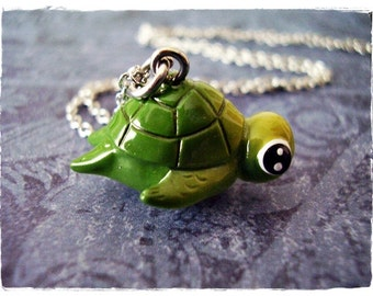 Green Sea Turtle Necklace - Green Resin Sea Turtle Charm on a Delicate Silver Plated Cable Chain or Charm Only