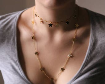 Stars necklace Long layered necklace gold necklace minimalist Jewelry Chain Necklace with stars layering necklace long gold chain necklace