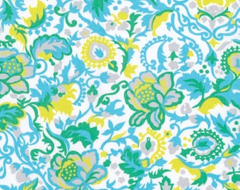 Jennifer Paganelli fabric Sunny Isle Claire JP126 Sky blue yellow white floral Freespirit 100% Cotton sewing/quilting fabric by the yard