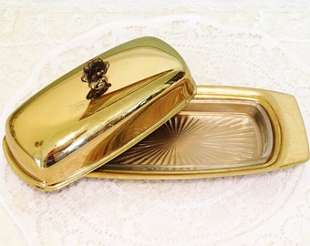 Vintage Dirilyte Dirigold Regal Covered Butter Dish with Etched Glass Insert - Elegant Gold Butter Dish, Hollowware, Dirilyte