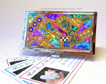 Metal Business Card Case with Microbead Collage Top, in shades of blue, green and purple