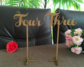 Wooden freestanding wedding table numbers Calligraphy Script Rustic numbers stand Wood table signs Cursive table number on sticks Laser cut
