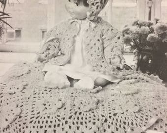 IRISH Crochet BABY Carriage Cover Sacque Bonnet Pattern McCall's Leaflet L-883, 1977