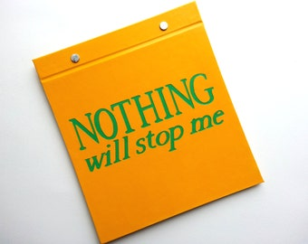 Running Bib Holder - Nothing with stop me - Race Bib Book Hand-bound for Runners Gold and Green