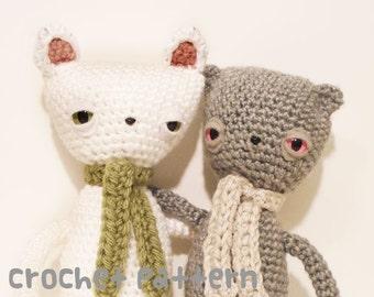 CROCHET PATTERN - Amigurumi Melancholy Cat and Bear - PDF Instant Download - Emo Gift