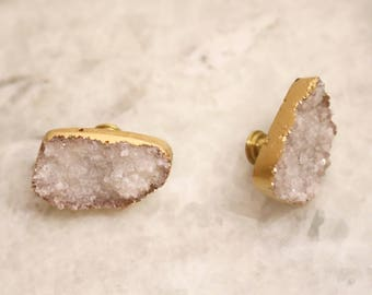 Gold Quartz Knob--Gold Geode Knob--White and Gold Knob--Gold Crystal Knob--Gold Geode Pull--Gold Druzy Pull--White Druzy Handle