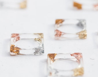 Square Resin Stacking Ring Modern Transparent Ring Yellow Rose Gold Silver Flakes OOAK geometric minimalist jewelry minimal chic